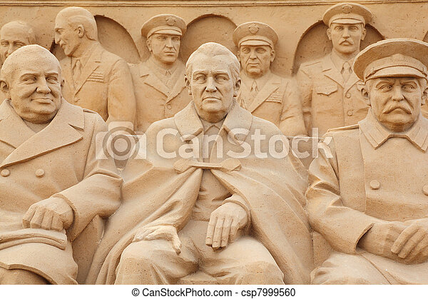 MOSCOW - SEPTEMBER 7: Sculpture politicians on All-Russian Exhibition Center on September 7, 2010 in Moscow, Russia. This is sand sculpture in honor of 65 anniversary of victory in the World War II. - csp7999560