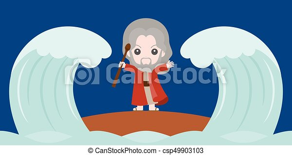 moses dividing the red sea in two parts, flat design cute character - csp49903103