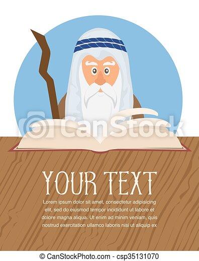 Moses reading Passover Haggadah  - csp35131070