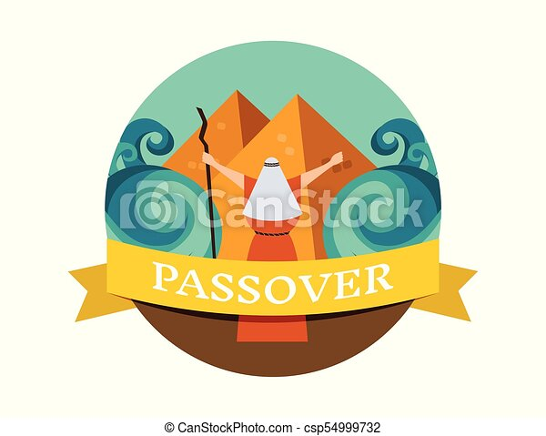 Moses splitting the red sea and ordering let my people go out of Egypt. story of Jewish holiday Passover. - csp54999732