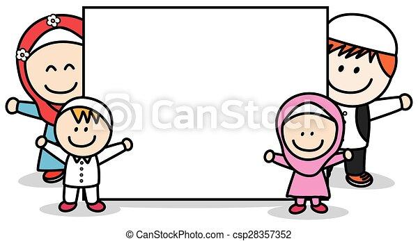 Moslem family holding banner - csp28357352