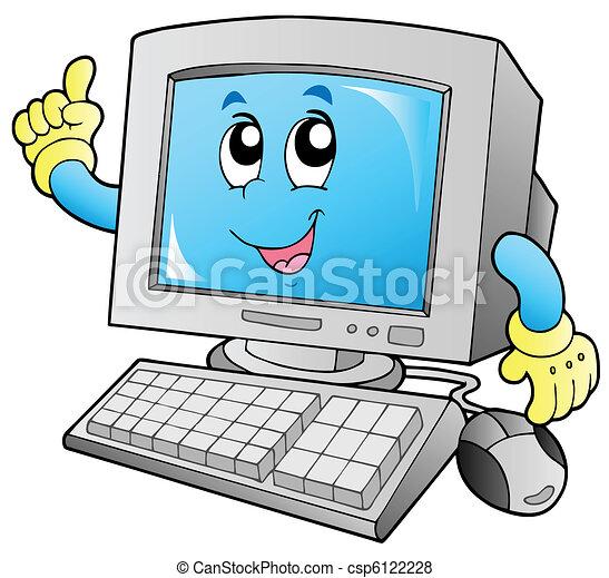 mosolygós, számítógép, karikatúra, desktop - csp6122228