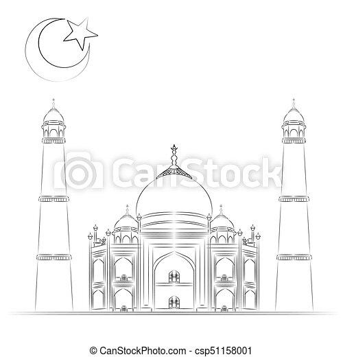 Mosque illustration, hand drawn, sketch - csp51158001