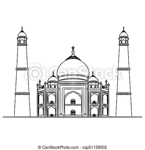 Mosque illustration, hand drawn, sketch - csp51158002
