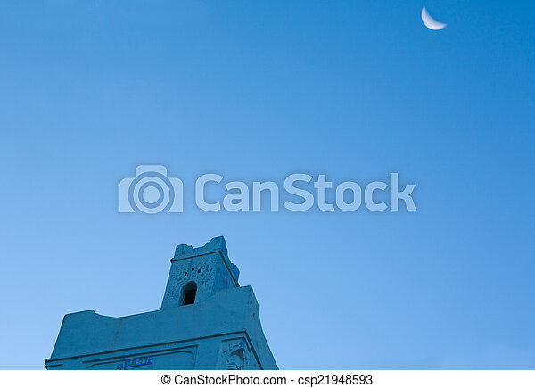 Mosque in Chefchauen with moon - csp21948593