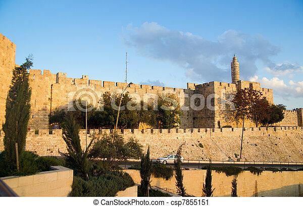 Mosque of Omar minaret in Jerusalem - csp7855151