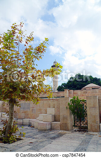 Mosque of Omar minaret in Jerusalem - csp7847454