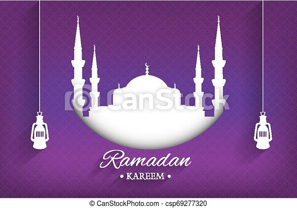 Mosque silhouette and handwritten ramadan kareem and hanging lamps with purple background, vector, illustration, eps file - csp69277320