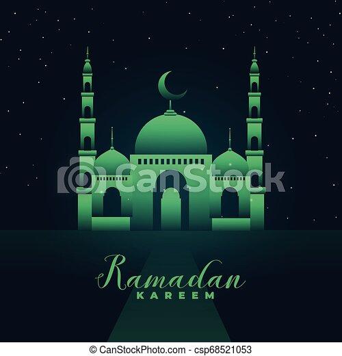 mosque silhouette with green lights ramadan kareem - csp68521053