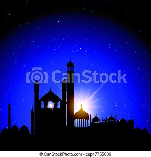 Mosque silhouettes against night sky - csp47755600