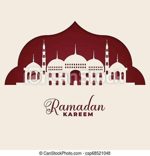 mosque silhouettes ramadan kareem islamic background - csp68521048