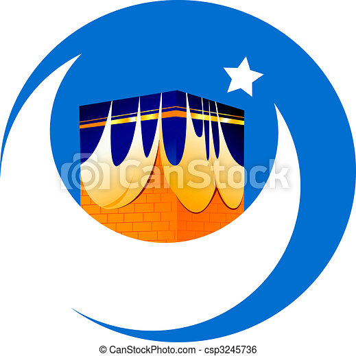 mosque, star and noon in blue background - csp3245736