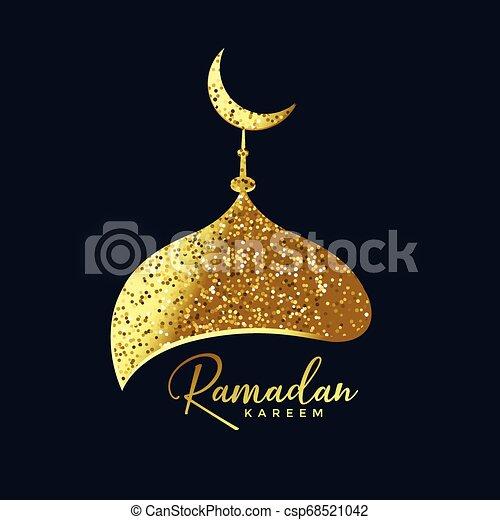 mosque top made with golden glitter ramadan background - csp68521042