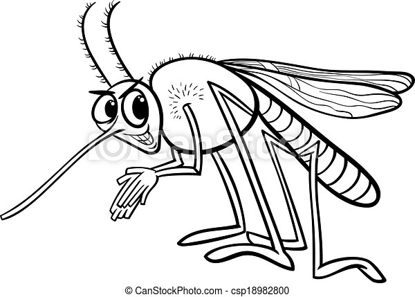 Mosquito insect coloring page. Black and white cartoon illustration ...
