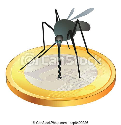 Mosquito on Euro coin - csp8400336