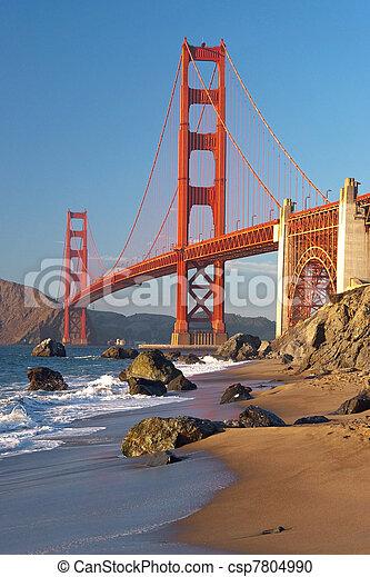 most, francisco, san, zachód słońca złotego, brama, podczas - csp7804990