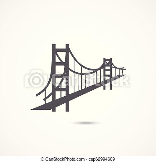 most, ikona, brama, złoty - csp62994609