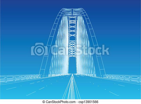 most, sylwetka, brama złotego - csp13901566