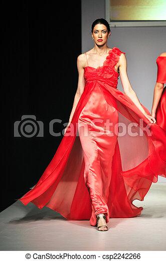 mostra, donna, moda, passeggiata - csp2242266