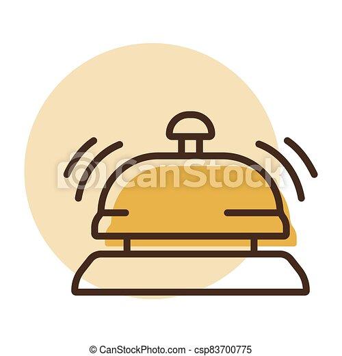 mostrador, hotel, icono, vector, campana, servicio - csp83700775