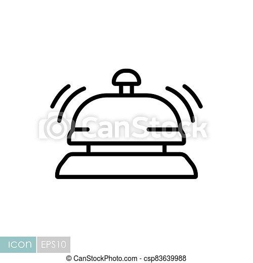 mostrador, hotel, servicio, icono, vector, campana - csp83639988