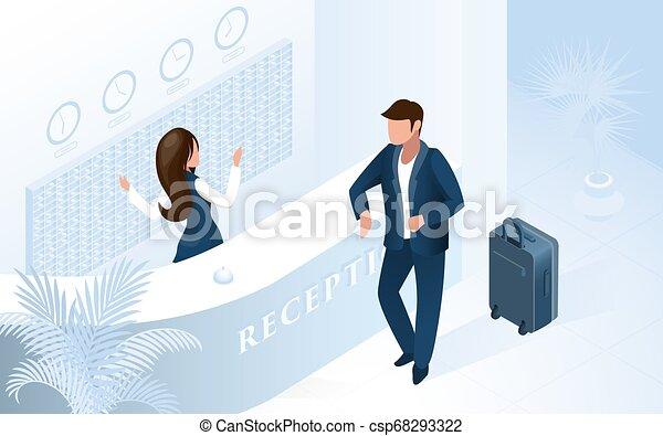 Una recepcionista en un hotel - csp68293322