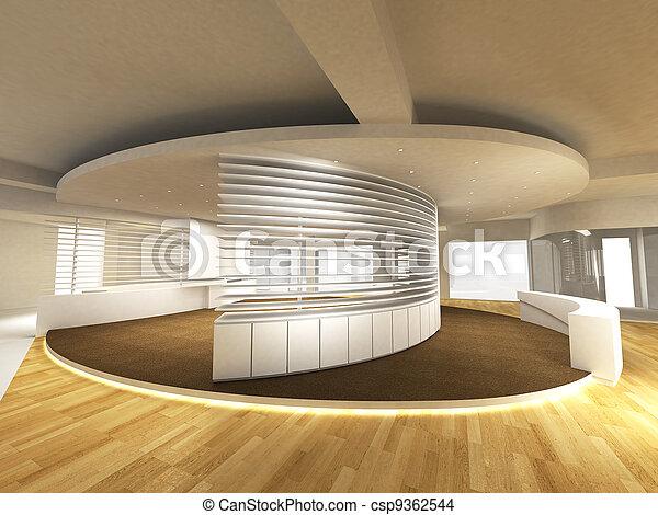 Área de oficina con mostrador de recepción - csp9362544