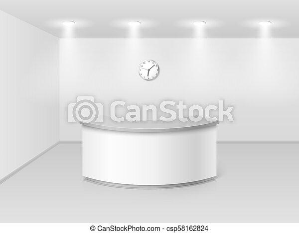 Oficina o interior del hotel con recepción mostrador de recepción ilustración 3D vectorial - csp58162824