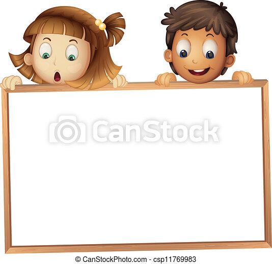 mostrando, crianças, tábua - csp11769983