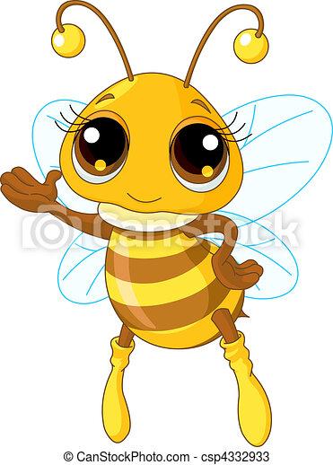 mostrando, cute, abelha - csp4332933