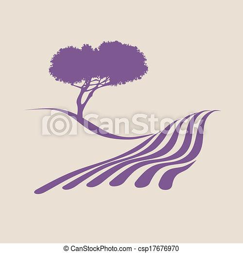 mostrando, ilustração, stylized, rural, provence, paisagem - csp17676970