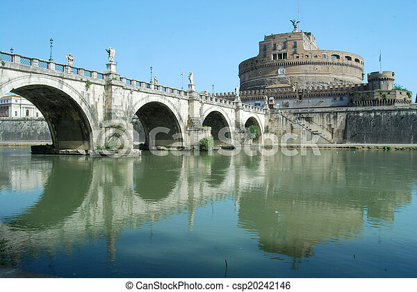 mosty, włochy, tiber, na, -, rzym, rzeka - csp20242146
