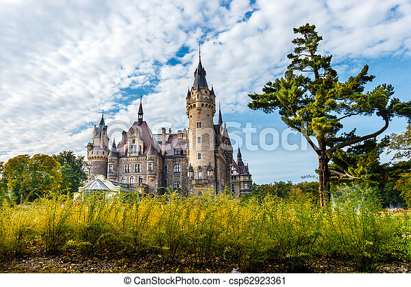 Moszna Castle, historic palace located in a village of Moszna, Upper Silesia, Poland - csp62923361