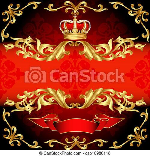 motívum, arany, háttér, keret, piros, korona - csp10980118