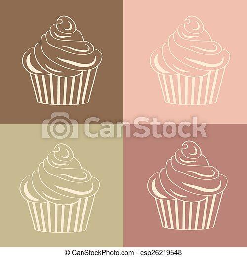 motívum, cupcakes, seamless, lineáris - csp26219548