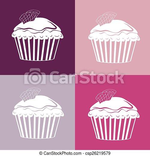 motívum, cupcakes, seamless, lineáris - csp26219579
