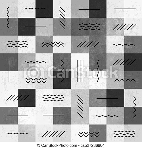 motívum, megvonalaz, seamless, retro, szüret, monochrom - csp27286904