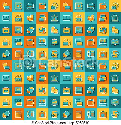 motívum, seamless, icons., bankügylet - csp15283510