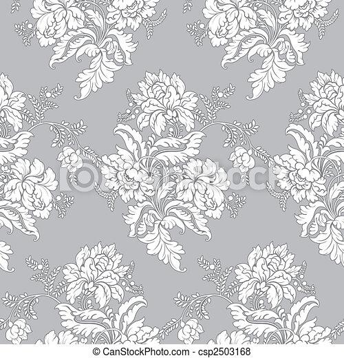 motívum, seamless, -, klasszikus, virágos - csp2503168