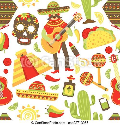 motívum, seamless, mexikó - csp22713966
