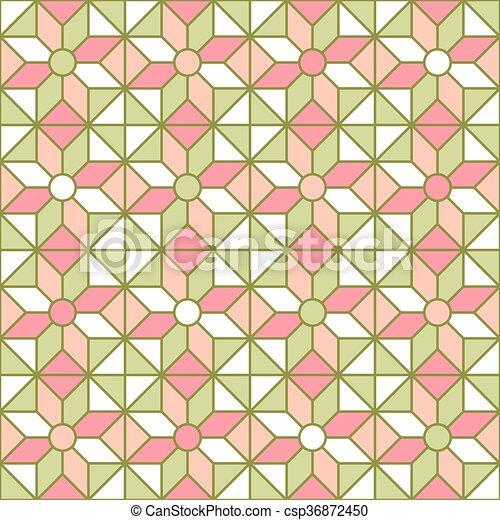 motívum, stained-glass, ablak, egyszerű, shapes. - csp36872450