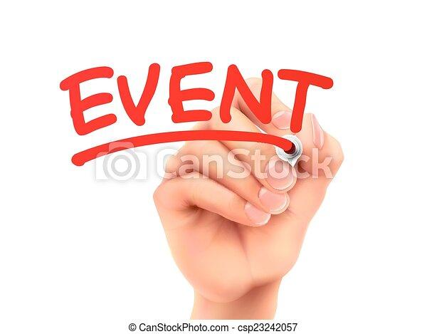 mot écrit, événement, main - csp23242057