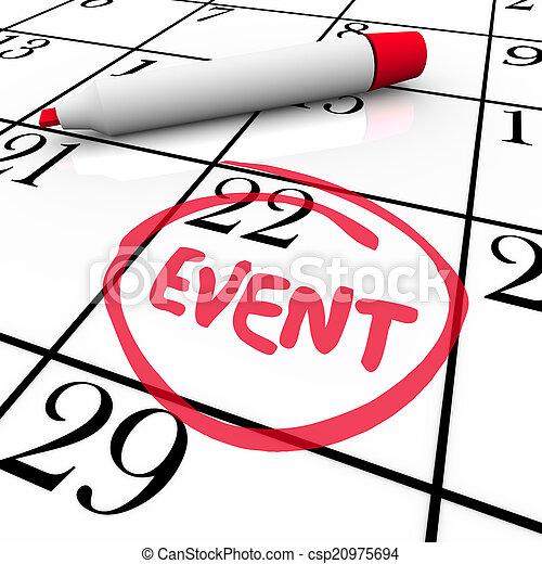 mot, événement, entouré, date, fête, calendrier, réunion, jour, spécial - csp20975694