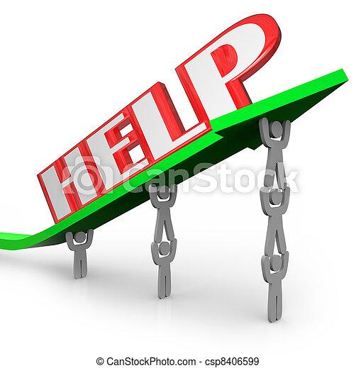 mot, aide, gagner, ensemble, collaboration, flèche, levage - csp8406599