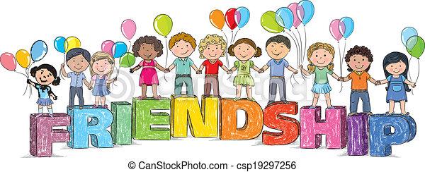 Mot Amitie Enfants Eps10 Friendship Contient Enfants Mot Objects Transparent Canstock