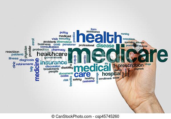 mot, assurance-maladie, nuage - csp45745260