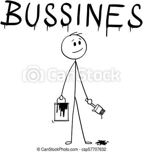 mot, business, pinceau, homme affaires, peinture, dessin animé, boîte - csp57707632