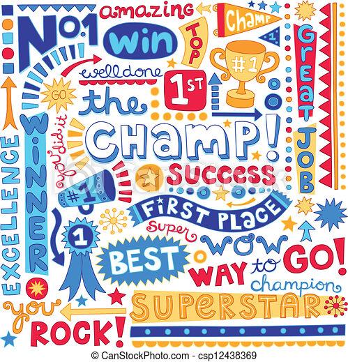 mot, champion, endroit, premier, doodles - csp12438369