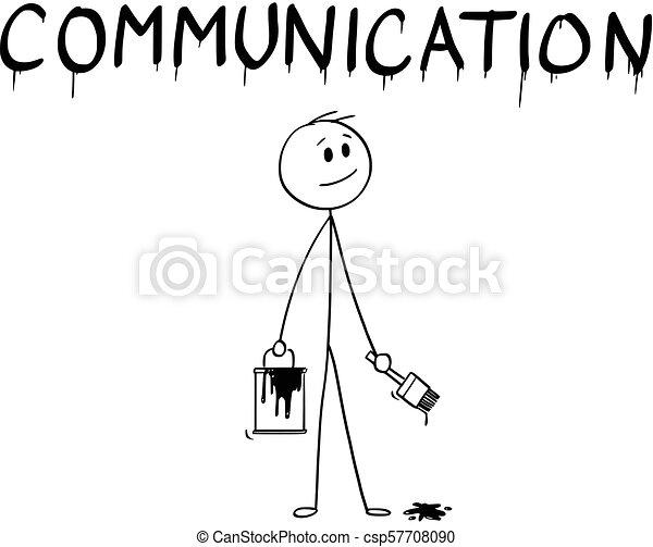 mot, communication, pinceau, homme affaires, peinture, dessin animé, boîte - csp57708090