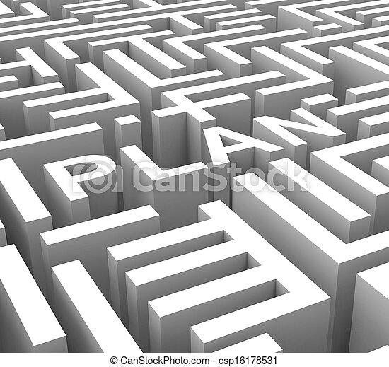mot, contour, business, planification, plan, ou, spectacles - csp16178531